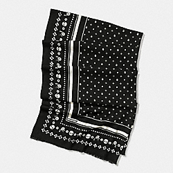 COACH F56242 Studded Skull Bandana Oversized Oblong BLACK
