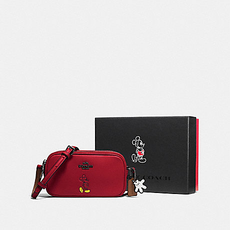 COACH F56268 BOXED CROSSBODY POUCH WITH MICKEY DK/RED