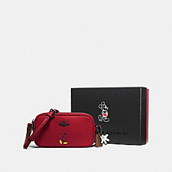 COACH F56268 - BOXED CROSSBODY POUCH WITH MICKEY DK/RED