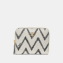 COACH F56270 Small Zip Around Wallet With Geo Chevron Print BLACK/CHALK/IMITATION GOLD