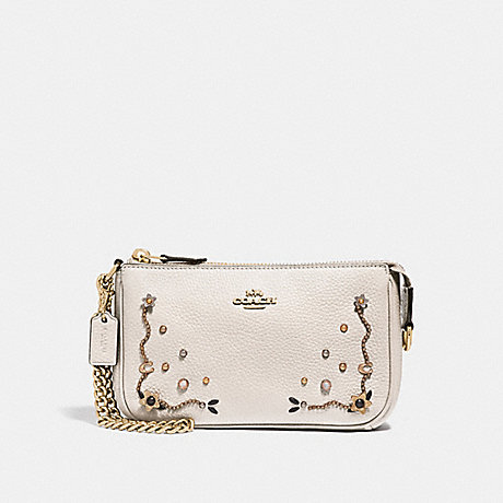 COACH F56275 LARGE WRISTLET 19 WITH STARDUST CRYSTAL RIVETS<br>蔻驰大腕19星尘结晶铆钉 粉笔多/仿金