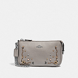 COACH F56275 Large Wristlet 19 With Stardust Crystal Rivets GREY BIRCH MULTI/SILVER