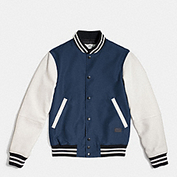 COACH VARSITY JACKET IN MIXED MATERIALS - MIDNIGHT/CHALK - F56276