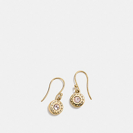 COACH F56417 OPEN CIRCLE STONE EARRING ON WIRE GOLD