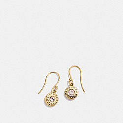 OPEN CIRCLE STONE EARRING ON WIRE - f56417 - GOLD