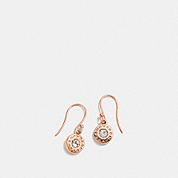 OPEN CIRCLE STONE EARRING ON WIRE - f56417 - ROSEGOLD