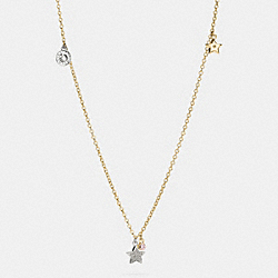 LONG MULTI STAR CHARM NECKLACE - f56421 - GOLD/SILVER