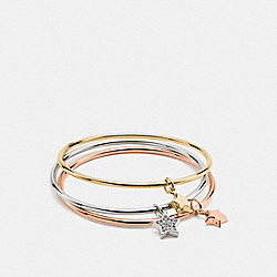 BOXED STAR CHARM BANGLE SET - f56426 - GOLD/SILVER