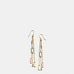 COACH F56431 - LONG HANGTAG CHARM EARRINGS GOLD/SILVER ROSEGOLD