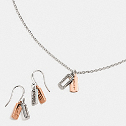 COACH F56436 - BOXED HANGTAG CHARM NECKLACE AND EARRING SET SILVER/ROSEGOLD