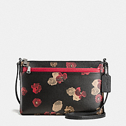 COACH F56463 East/west Crossbody With Pop Up Pouch In Halftone Floral Print Coated Canvas ANTIQUE NICKEL/BLACK MULTI