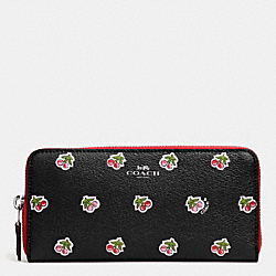 COACH F56487 Slim Accordion Zip Wallet In Cherry Print Canvas SILVER/BLACK MULTI