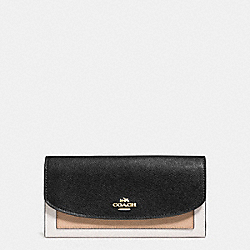 COACH F56492 Slim Envelope Wallet In Geometric Colorblock Crossgrain Leather IMITATION GOLD/CHALK FOG MULTI