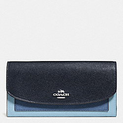 SLIM ENVELOPE WALLET IN GEOMETRIC COLORBLOCK CROSSGRAIN LEATHER - f56492 - SILVER/MIDNIGHT BLUE MULTI