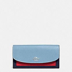 COACH F56492 - SLIM ENVELOPE WALLET IN GEOMETRIC COLORBLOCK CROSSGRAIN LEATHER SILVER/CORNFLOWER