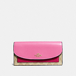COACH F56494 Slim Envelope Wallet In Colorblock Signature Canvas KHAKI/MULTI/IMITATION GOLD
