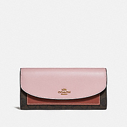 SLIM ENVELOPE WALLET IN COLORBLOCK SIGNATURE CANVAS - f56494 - BROWN/BLUSH TERRACOTTA/LIGHT GOLD