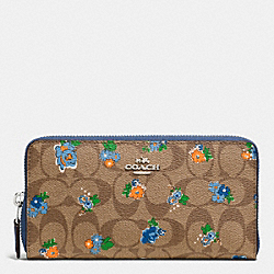 ACCORDION ZIP WALLET IN FLORAL LOGO PRINT COATED CANVAS - f56496 - SILVER/KHAKI BLUE MULTI