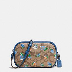 CROSSBODY POUCH IN FLORAL LOGO PRINT - f56503 - SILVER/KHAKI BLUE MULTI