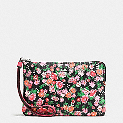 COACH F56504 Corner Zip Wristlet In Posey Cluster Floral Print Coated Canvas SILVER/PINK MULTI