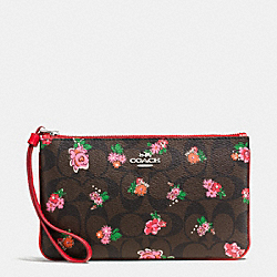 LARGE WRISTLET IN FLORAL LOGO PRINT COATED CANVAS - f56505 - SILVER/BROWN RED MULTI