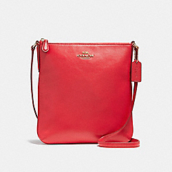 NORTH/SOUTH CROSSBODY IN SMOOTH LEATHER - f56516 - LIGHT GOLD/TRUE RED