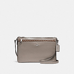 EAST/WEST CROSSBODY WITH POP-UP POUCH IN SMOOTH LEATHER - f56517 - SILVER/FOG