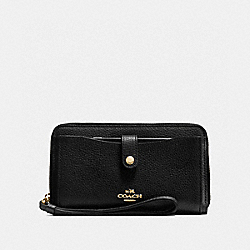 COACH F56528 Phone Wallet BLACK/LIGHT GOLD