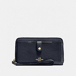 COACH F56528 Phone Wallet NAVY/LIGHT GOLD
