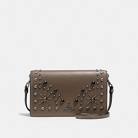 COACH f56529 FOLDOVER CROSSBODY CLUTCH IN GLOVETANNED LEATHER WITH WESTERN RIVETS DARK GUNMETAL/FATIGUE