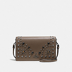 FOLDOVER CROSSBODY CLUTCH IN GLOVETANNED LEATHER WITH WESTERN RIVETS - f56529 - DARK GUNMETAL/FATIGUE