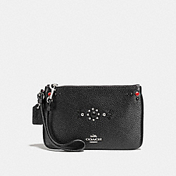 SMALL WRISTLET WITH WESTERN RIVETS - f56530 - SILVER/BLACK