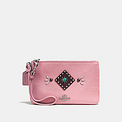 COACH F56530 Small Wristlet In Polished Pebble Leather With Western Rivets SILVER/PINK