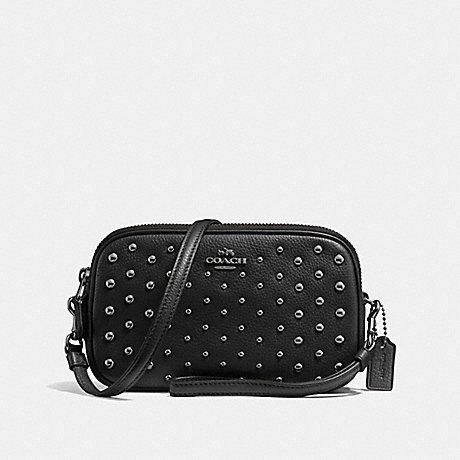 COACH F56533 SADIE CROSSBODY CLUTCH WITH OMBRE RIVETS DK/BLACK