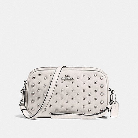 COACH F56533 SADIE CROSSBODY CLUTCH WITH OMBRE RIVETS SV/CHALK