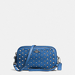 COACH F56533 Crossbody Clutch In Polished Pebble Leather With Ombre Rivets SILVER/LAPIS