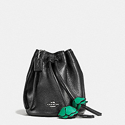 COACH F56581 Petal Wristlet In Pebble Leather SILVER/BLACK