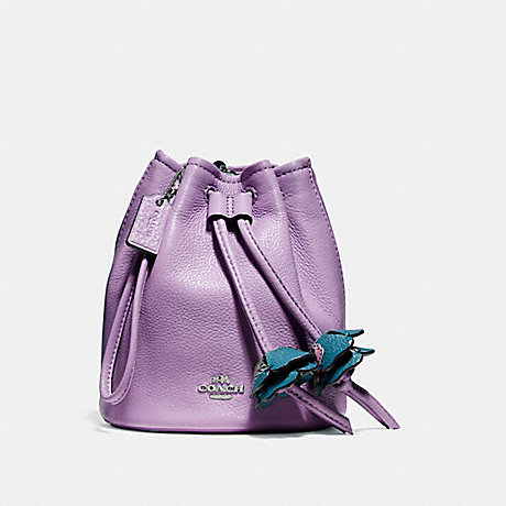 COACH F56581 PETAL WRISTLET IN PEBBLE LEATHER SILVER/LILAC