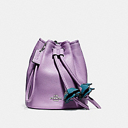 PETAL WRISTLET IN PEBBLE LEATHER - f56581 - SILVER/LILAC