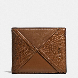 3-IN-1 WALLET IN PATCHWORK LEATHER - f56599 - DARK SADDLE