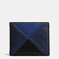 3-IN-1 WALLET IN PATCHWORK LEATHER - f56599 - INDIGO