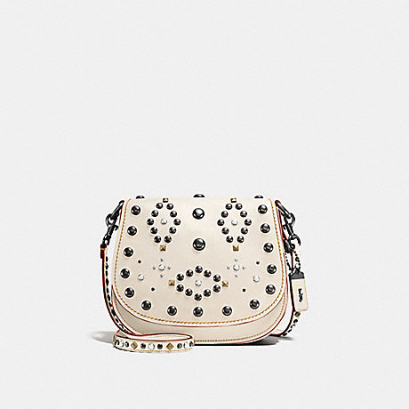 COACH F56620 SADDLE 23 WITH WESTERN RIVETS CHALK/BLACK COPPER