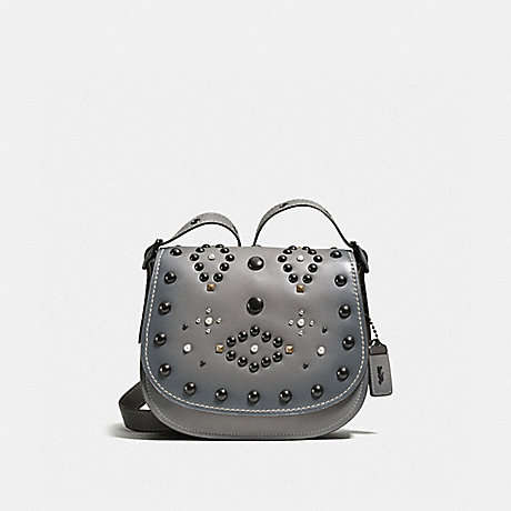 COACH f56620 SADDLE 23 WITH WESTERN RIVETS Heather Grey/Black Copper