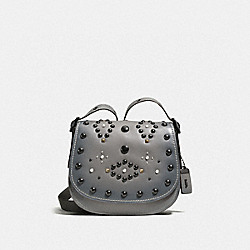 COACH F56620 - SADDLE 23 WITH WESTERN RIVETS HEATHER GREY/BLACK COPPER