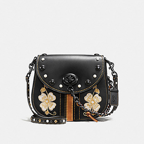 COACH f56643 TURNLOCK SADDLE 23 WITH WESTERN EMBROIDERY BLACK/BLACK COPPER