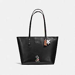 COACH F56645 Mickey City Tote In Calf Leather DARK GUNMETAL/BLACK