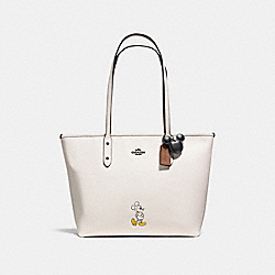 COACH MICKEY CITY TOTE IN CALF LEATHER - DARK GUNMETAL/CHALK - F56645