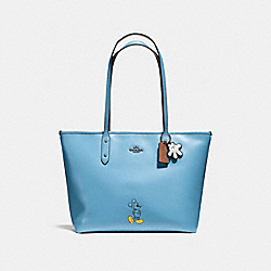 COACH F56645 Mickey City Tote In Calf Leather DK/BLUEJAY