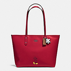 COACH MICKEY CITY TOTE IN CALF LEATHER - DARK GUNMETAL/RED - F56645