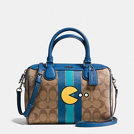 COACH F56648 MINI BENNETT SATCHEL IN SIGNATURE PAC MAN PRINT COATED CANVAS BLACK-ANTIQUE/KHAKI-DENIM